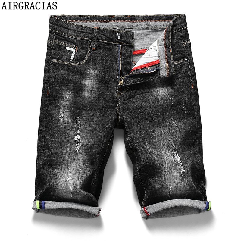 AIRGRACIAS 2019 New Arrive Shorts Men   Jeans   Brand-Clothing Retro Nostalgia Denim Bermuda Short For Man Black   Jean   Size 28-40