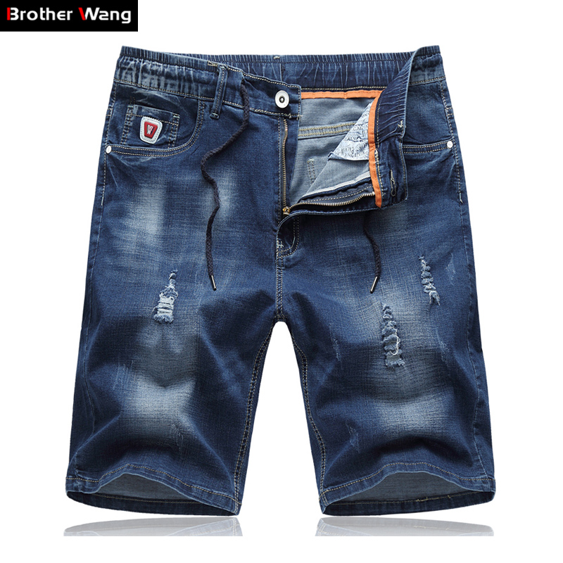 Denim Shorts Jeans Summer Straight Large-Size Casual Brand 5XL Stretch Male 6XL Thin