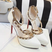 New European Sexy Rivets Thin High Heels Shoes Ladies Platform Pumps Pointed Toe Single Hollow Buckle High-heeled Shoes