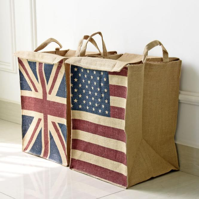 buy creative flag print clothing items four hamper flag box jute laundry basket storage with handles wash picnic from
