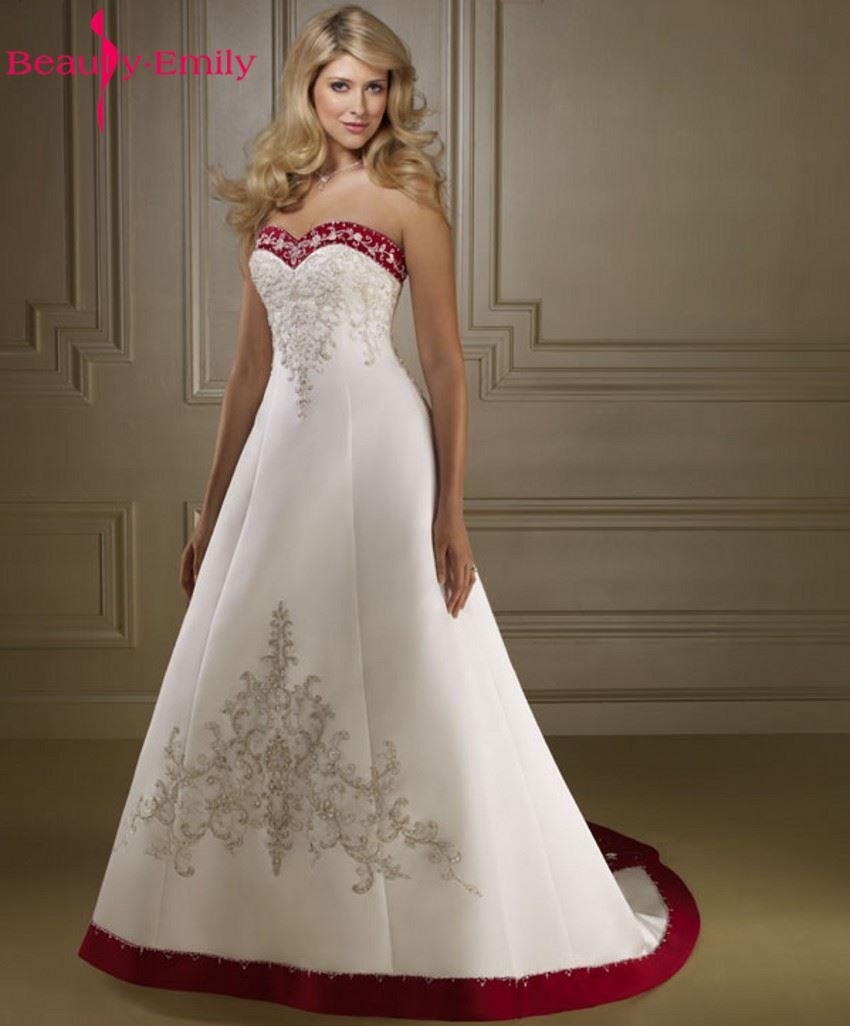 Online Get Cheap Red White Wedding Gowns Aliexpress Com Alibaba