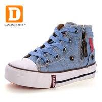 New 2015 Autumn Children Shoes Rubber Shoes For Girls Boys Zip High Top Denim Jeans Children