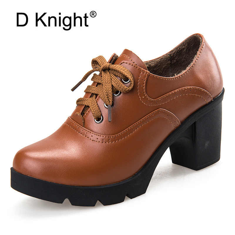 Leather Shoes Lace Toe Genuine High Thick Pumps School Vintage For Sapatos Women Heels New Up Oxford Femininos Round 0nwPk8O