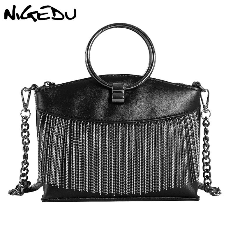 NIGEDU Chain Tassel Female Messenger Bags small Vintage Ring handbag PU Leather Shoulder Bag for women Crossbody Bags black