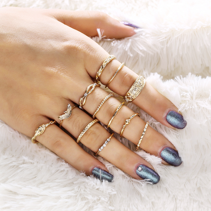 12pc/set Fashon Women Charm Gold Bohemia Midi Finger Ring Set Party Ring Jewelry Knuckle Ring Set Jewelry Gift