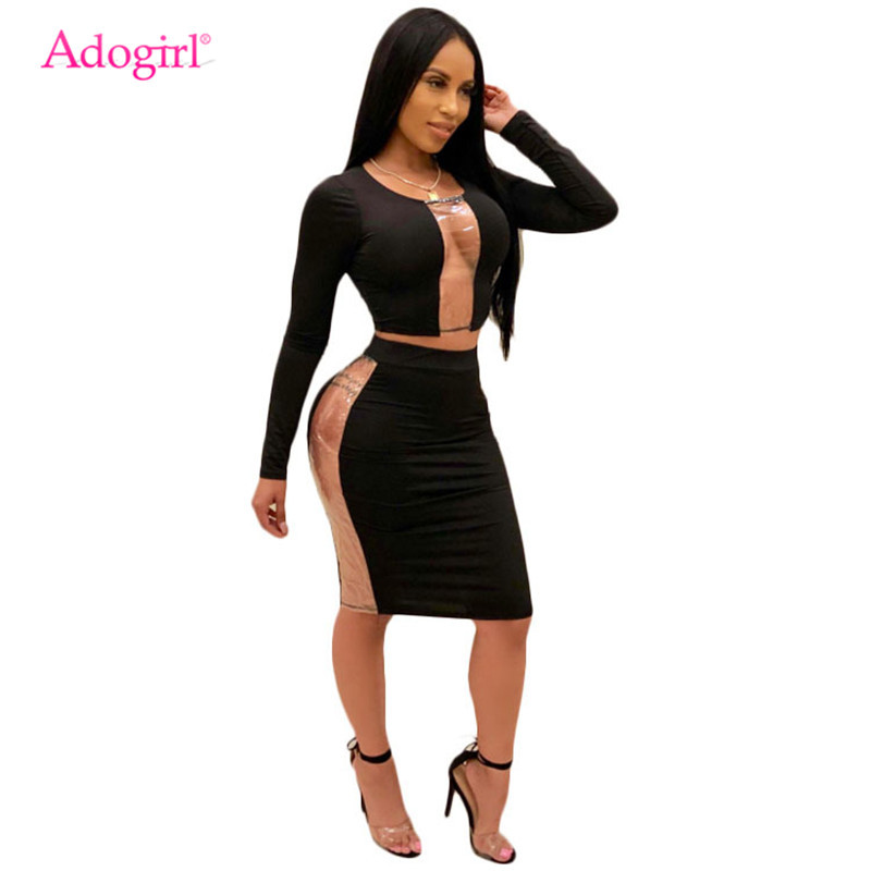 Adogirl Transparent PVC Patchwork Sexy Two Piece Set Long Sleeve Crop Top High Waist Bodycon Midi Skirt Women Club Party Dresses