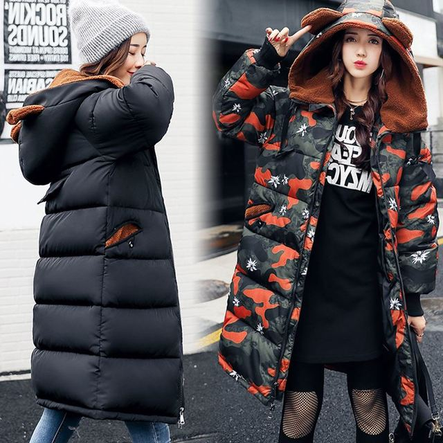 eec921d7f6112 2018 Long Parka Thick Female Winter Coat Women Camouflage Warm Winter Jacket  Woman Hooded Coat And Jacket Outwear