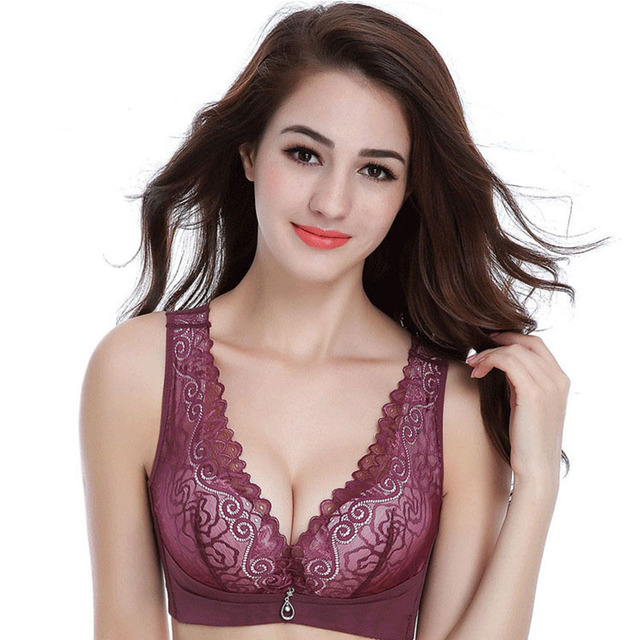 c37a91da5fc Sexy Womens Bras New Lace No Rims And Cool Under The Thin Thick Gather Sexy  Underwear Bra Vest Push Up Bras Plus Size 80B-95C