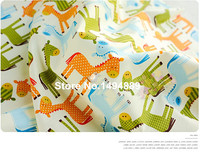 1 Meter Green Orange Blue Burro Printed Cartoon Style Pure Cotton Twill Fabric For Bedding And
