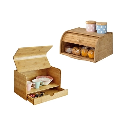Bamboo dustproof bread snack food storage box solid wood storage box kitchen glove box storage ...