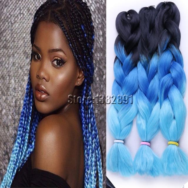 10pcs Lot Ombre Jumbo Braiding Hair Crochet Braids 3 Tone Black T Blonde Brown Blue