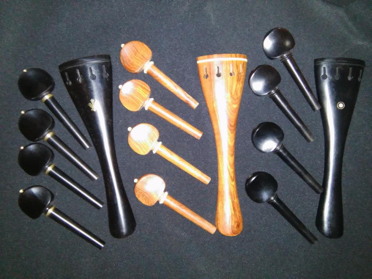3 Sets Quality Cello parts 4/4 including 2 set ebony 1 set rose wood parts 1 pc nice quality snake wood cello bow ebony frog 4 4 white horse tail hair