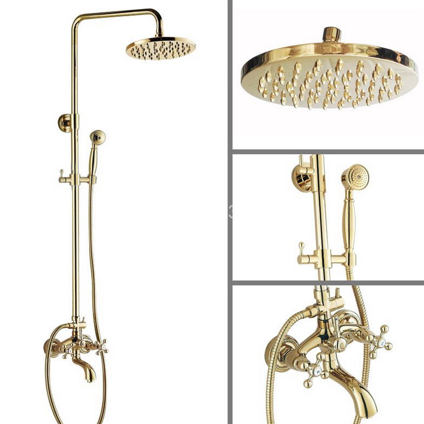 Gold Polished Brass Dual Cross Handles Wall Mounted Bathroom Rain Shower Faucet Set Bathtub