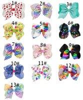 100pcs/lot Large Cheer Bow Hair Clip Unicorn Heart JOJO Gilding Ribbon Hair Bows Clips Children Girls Headwear Hair Accessories