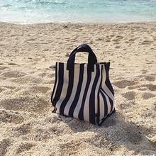 Bolso de lona para la playa para mujer, Bolsa de mano de tela a rayas, grande, informal, para compras y comestibles