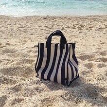 YENI Kadın Plaj Tuval Tote Çanta Moda Çizgili Kumaş Çanta Bayanlar Büyük omuzdan askili çanta Rahat Bolsa Alışveriş Bakkal Torbaları