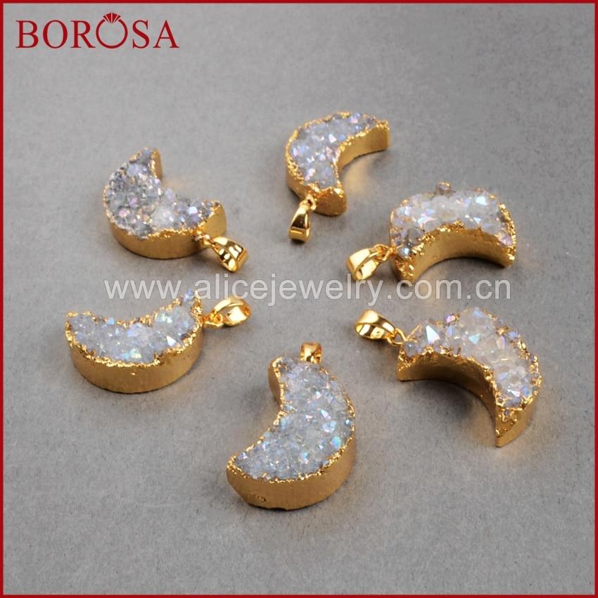 BOROSA New Hot Crystal Titanium AB geode Pendant Bead Gold Color Moon shape Hot geode stone