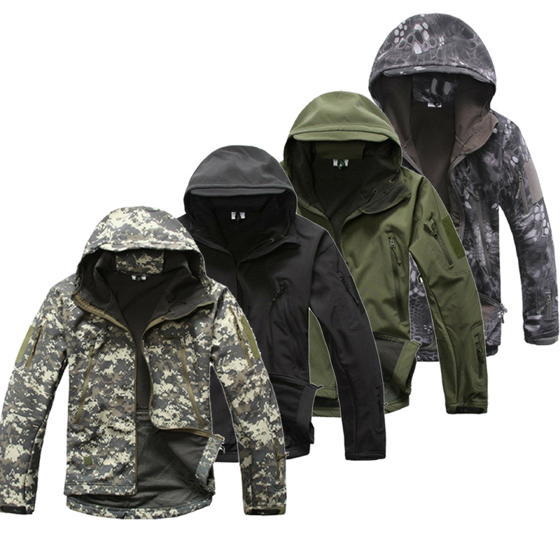 Скрытень Акула кожи softshell V5 Военная Униформа тактическая куртка Для мужчин Куртка из искусственной кожи PU камуфляж с капюшоном камуфляж Кос...