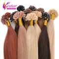 "16""18""20""22""24"" 50G Natural Keratin Capsule Prebonded U/Nail Tip Hair Extension Flat Tip Hair Extensions 18colors,100s/bag"
