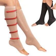 Новинка; компрессионные черные чулки на молнии для похудения; чулки на молнии с открытым носком