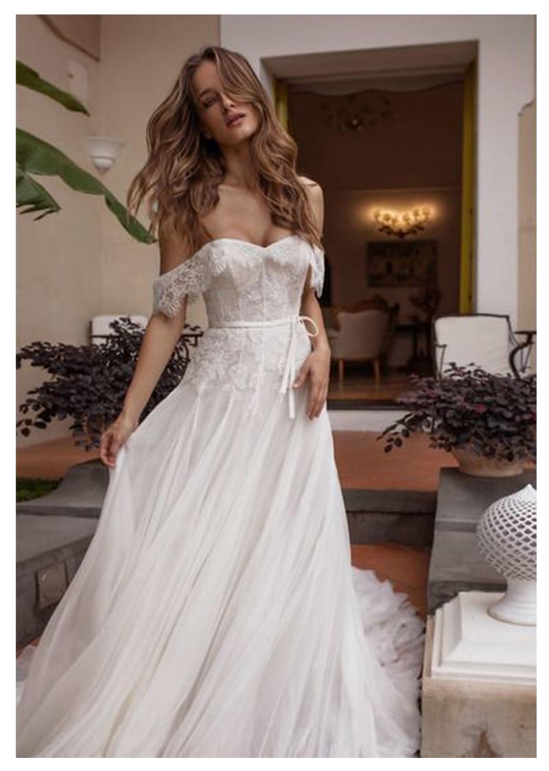 Us 90 47 42 Off The Shoulder Informal Wedding Dress Floor Length Lace Bride White Ivory Beach Robe De Mariee 2019 Elegant Gown In