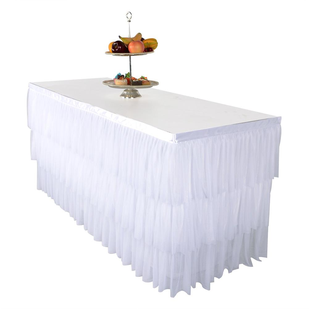 Wedding High Table Decoration Ideas: Table Skirt DIY Round Rectangle White Pink High End
