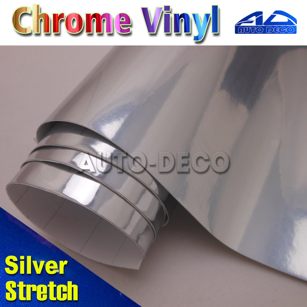 High Quality 20m/roll Silver Auto Chrome Vinyl Film Car Wrap Sticker Foil Easy to Stretch Free Shipping by FedEx