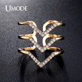 UMODE Micro CZ Three V Shape Ring Gold Plated Fashion Jewelry for Women Pave Luxury Rings Brand 2017 New Design AUR0360A