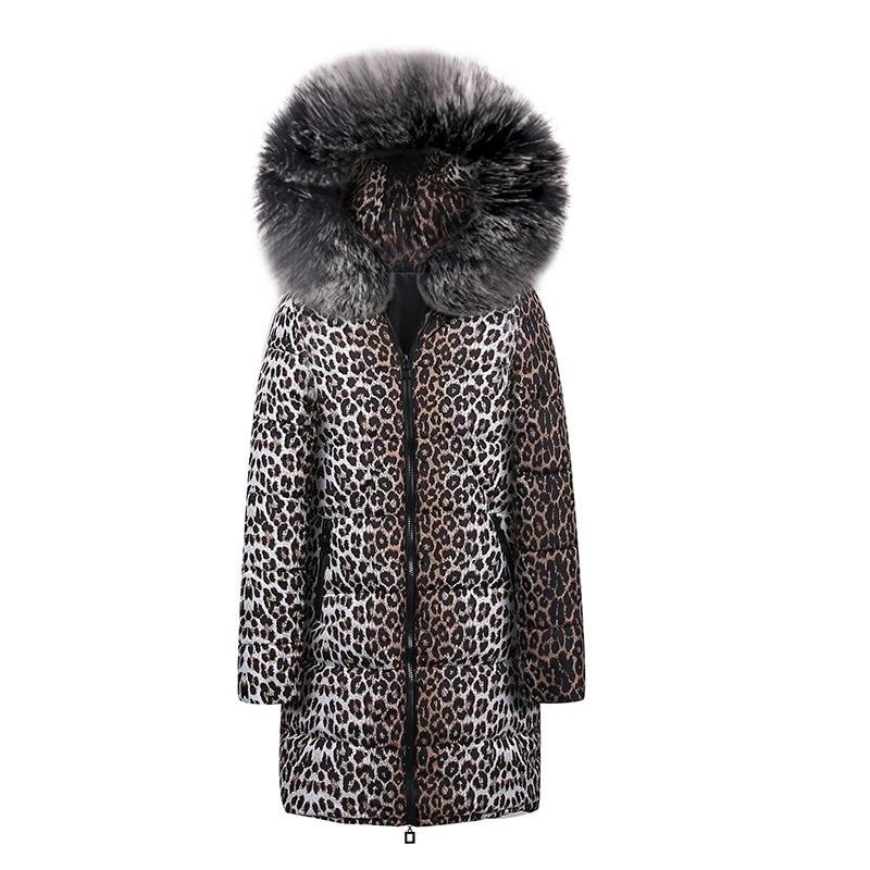 Casual Cotton Winter Fur Jackets Plus Size Women Coat Slim Print Leopard Jackets Female   Parkas   High Street Fashion Long Overcoat