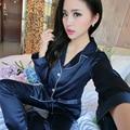 Azul Rosa Negro Satén De Seda Otoño de Las Mujeres de Dos Piezas de ropa de Dormir Pantalones de pijama Conjuntos de Manga Larga Camisa de Dormir Pantalones Largos Femeninos pijamas