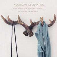 American Style Antler Vintage Hooks Wall Hooks Decorative Deer Horn Resin Hat Rack Coat Hooks For Hanging
