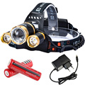 RJ3000 Upgraded Zoomable Camping Light LED Rechargeable Headlamp CREE XM-L T6 + 2*LTS 6000 Lumens Flashlight With 18650 Battery