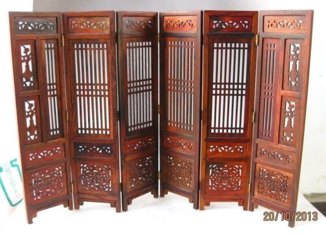 ( Mini ) Hand-carved Chinese Boxwood & Sculpture Folding Screen