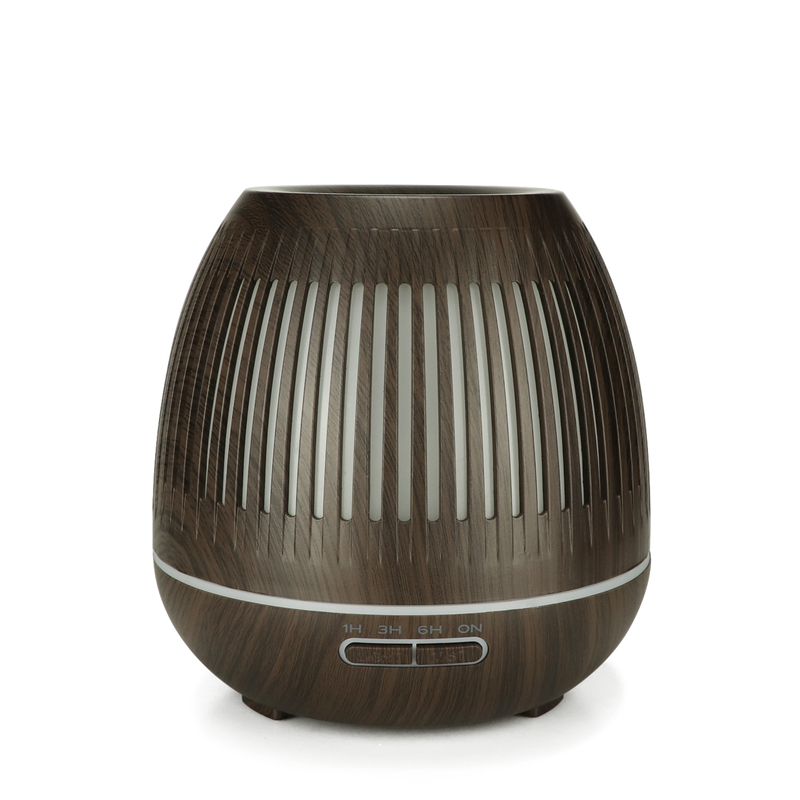 400Ml Aroma Essential Oil Diffuser Ultrasonic Air Purifier Humidifier With Wood Grain 7 Color Changing Led Lights For Office H