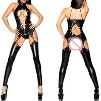 XXXL Sexy Women Faux Leather Bodycon Fetish Jumpsuit Black PVC Bodysuit Open Crotch Up Porn Teddy Lingerie Erotic Latex Catsuit
