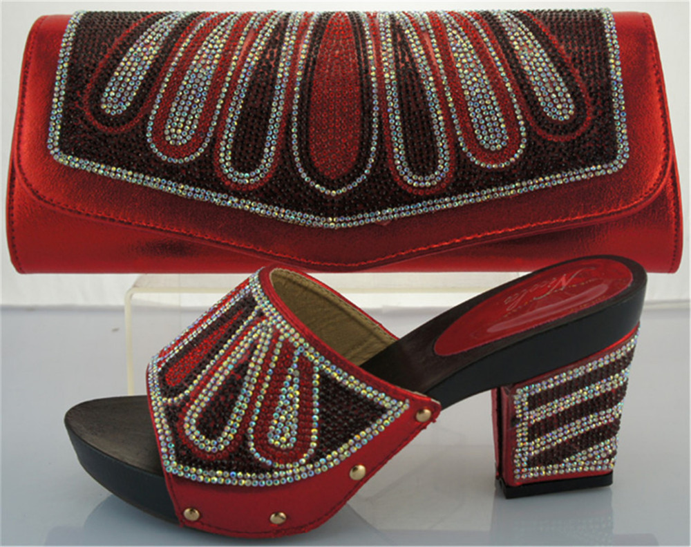 ФОТО Factory price with Italian shoes and matching bag,African shoes and bag for women dress!ME2213 red color size 38-42