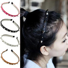 2016 Womens Lady Girls Multied color Spike Rivets Studded Headband Hair Band Party Band Punk Women Accessories 8OOS