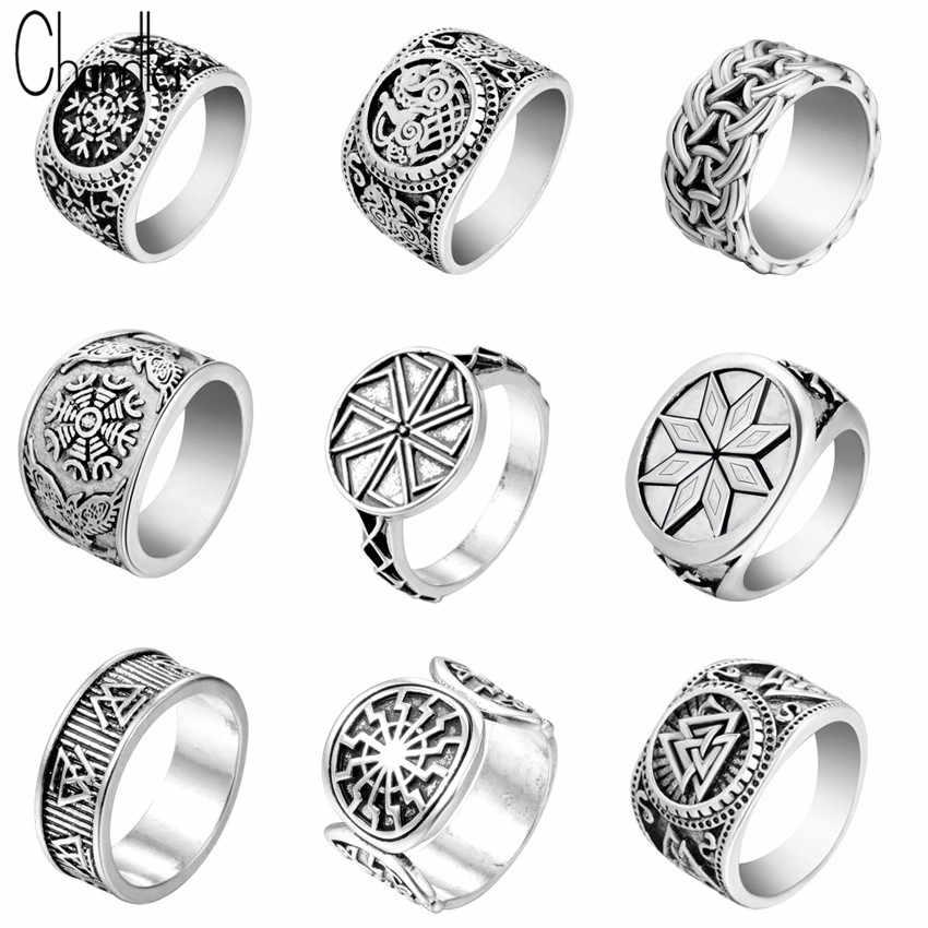 Chandler ใหม่ Valknut Signet แหวน Scandinavn Odin Symbol นอร์สไวกิ้งเครื่องประดับ Mens Boys Silver Plated Biker แหวนแฟชั่นเครื่องประดับ