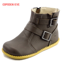 COPODENIEVE Girls Leather Shoes Kids Boots 2017 Spring Big Boys And Girls Boots Student Casual Martin