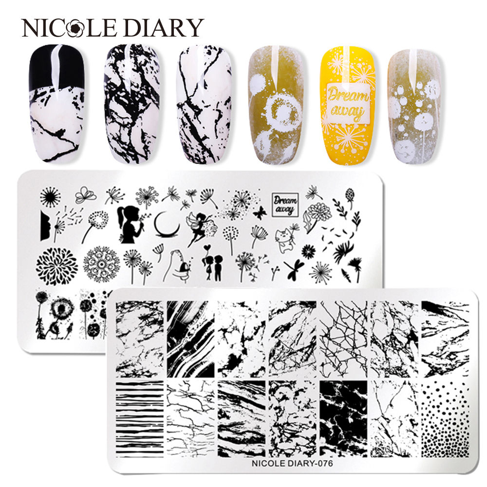 Stencil-Accessories-Tool Nail-Image-Plate Flowers Nicole Diary Stainless-Steel DIY Stamping
