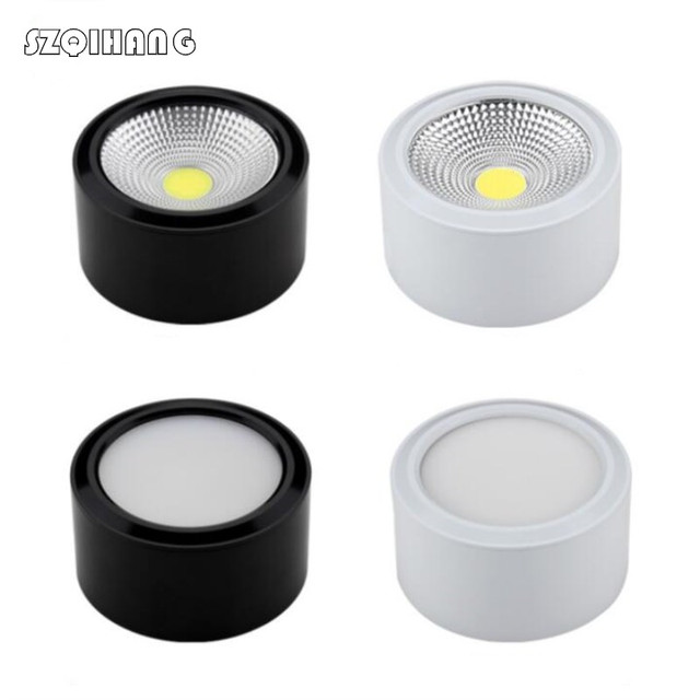 High quality COB Ceiling Lamp LED Downlight Dimmable 7W 10W Black/White Body Surface Mounted LED Downlight Indoor Lighting