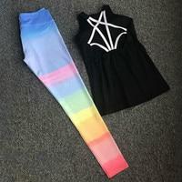 Colorvalue Conjunto Yoga Delgado Acolchado Sport Bra Top Impreso Mallas Danza Deporte de Secado rápido Traje de Gimnasio de Fitness Sportwear 2 Unids/set