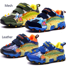 Dinoskulls Light Up Shoes Kids 3D Dinosaur LED Boys Shoes Mesh Leather Glowing Children Trainers 2019 Autumn Baby Boys Shoes