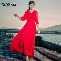 Tafforda 2018 Summer New Model Vintage Literary A Line V Neck Beach Casual Dress For Female