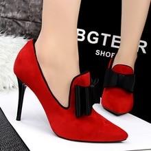 2016 New Fashion Thin High Heels font b Women b font Pumps Sweet Bowtie Pointed Toe