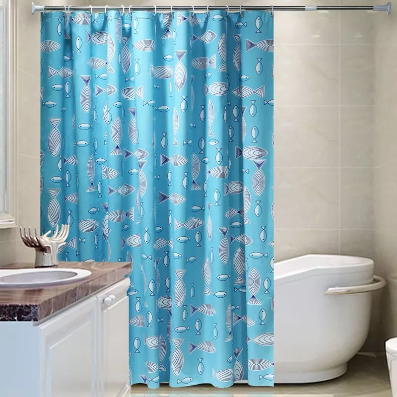 Blue Shower Curtain Waterproof Mildew Bathroom With Thick Pull The Blinds Cutoff Thecurtainshower