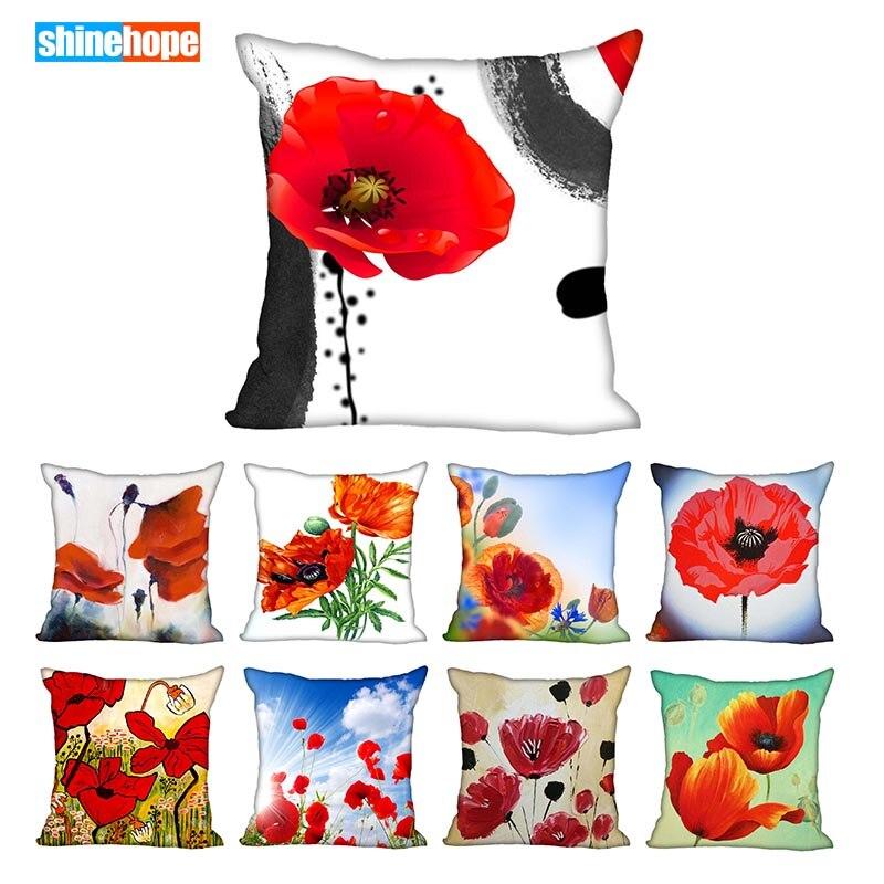 45X45cm,40X40cm(one Sides) Pillow Case Modern Home Decorative Poppy Flower Pillowcase For Living Room Pillow Cover