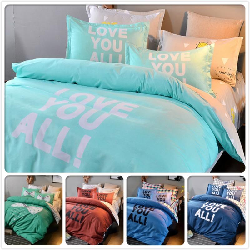 Blue Letter Print Aole Cotton 3/4 pcs Bedding Set 1.5m 1.8m 2m Flat Sheet Bed Linens King Queen Double Size Duvet Cover Bedlinen