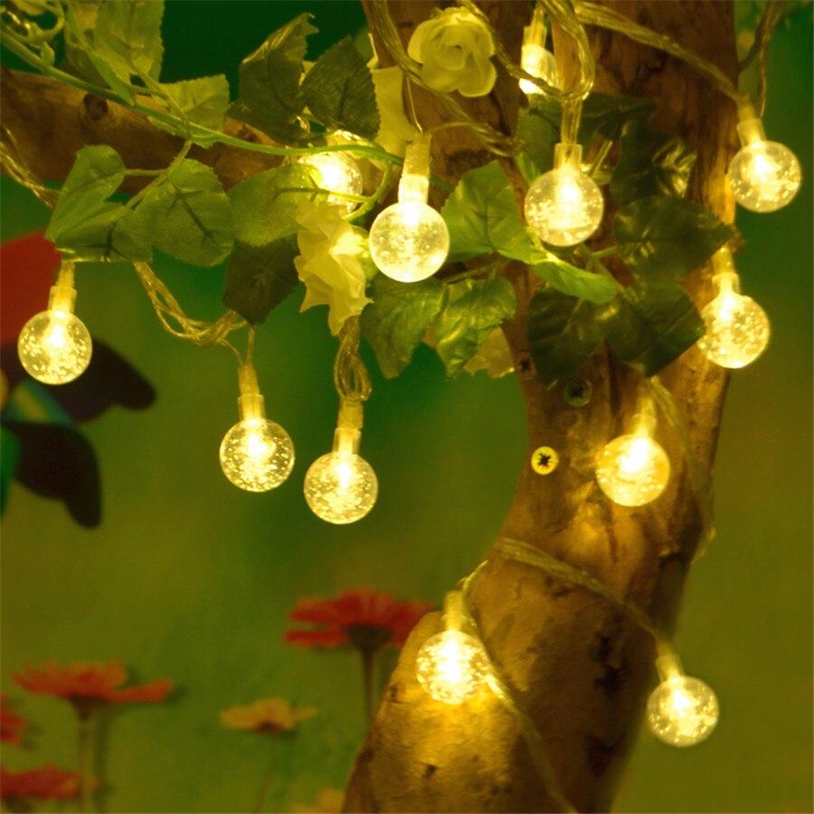 10M 100pcs Crystal Ball LED String Light Waterproof Outdoor 220V Globe Fairy String Garland Lights For Christmas Wedding Holiday