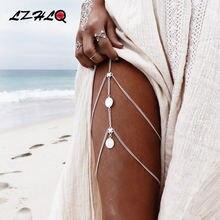 Lzhlq винтажная многослойная цепочка для монет и ног 2020 модные